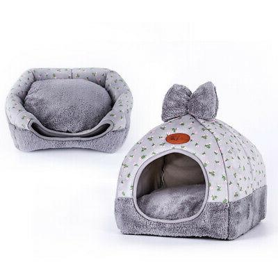 Pet Bed Tent House Cave Sleeping Shelter Rescue Plush Nest