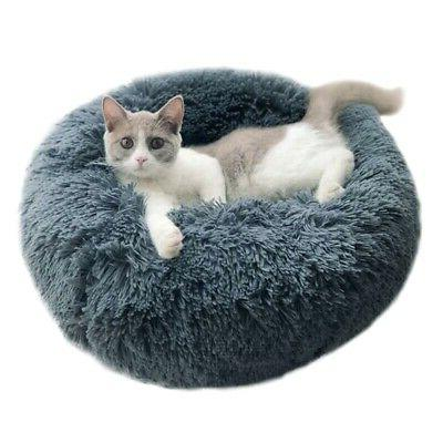 Pet Dog Cat Calming Bed Round Nest Sleeping Bed Soft Plush S