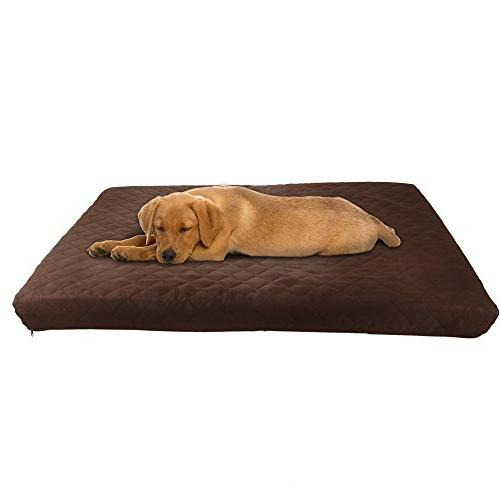Waterproof Foam Bed- Indoor/Outdoor Dog Bed with Resistant Slip Bottom Washable Cover, 27 by -Brown