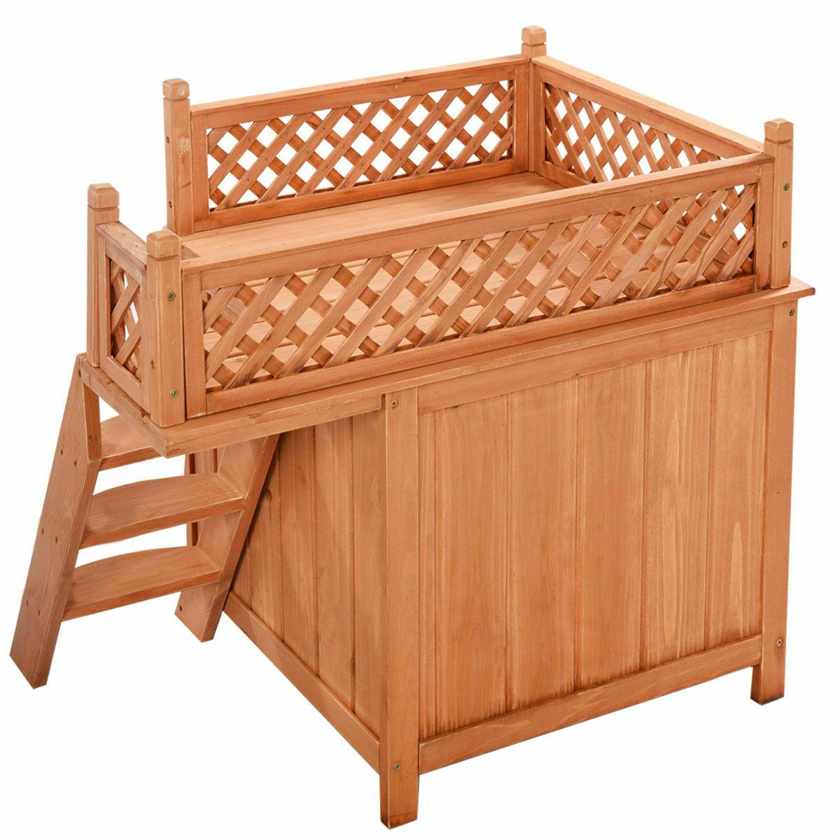 Wood Pet House Wooden Puppy & Bed