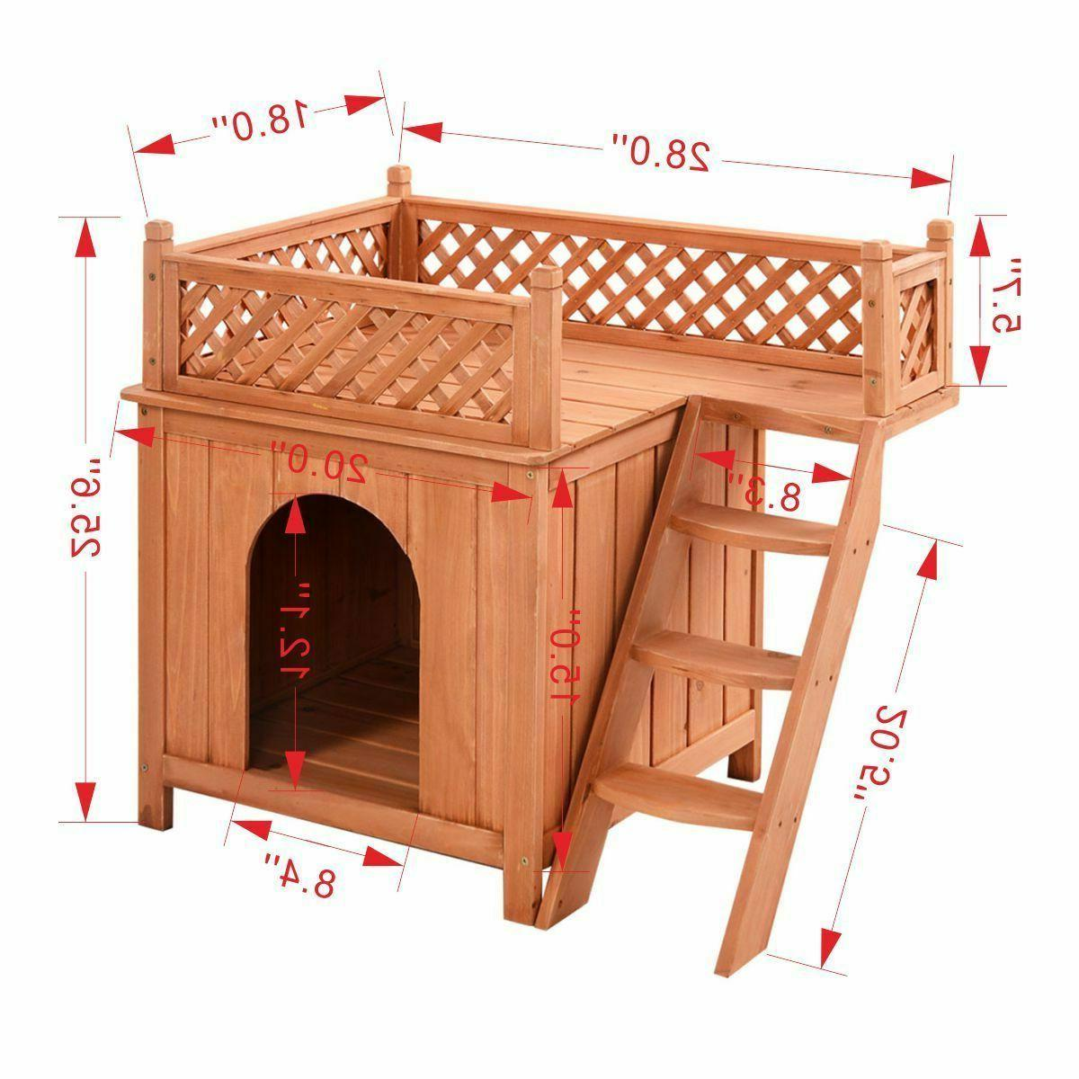 Wood Pet House Wooden & Outdoor Roof Balcony Bed Shelter
