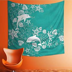L-QN Art Hippie Tapestry Teal Sea Dolphins and Sea Star Seas