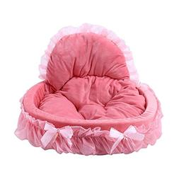 Z-Fire Lace Velvet Dog Cat Bed with Washable Pet Cushion, So