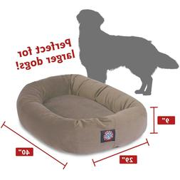 LARGE DOG BED Bagel w/Spine Support Washable Cover in VIntag