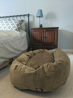Superb Majestic Pet Large Tan Suede Bagel Dog B Machost Co Dining Chair Design Ideas Machostcouk