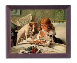 Little Girl Praying In Bed Breakfast Dog And Cat Religious P