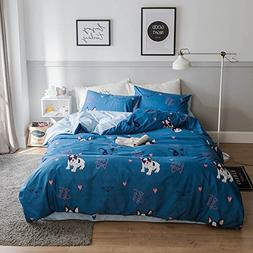 HIGHBUY Love Dogs Print Kids Duvet Cover Sets Queen Blue 100