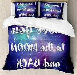 Love Phrase Duvet Cover Set Twin Queen King Sizes with Pillo