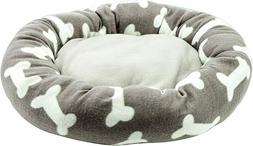 """Modern Grey Round 22"""" Bone Print Dog Bed - Perfect for Small"""
