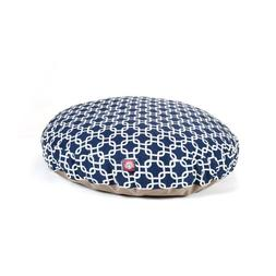 Navy Blue Links Large Round Indoor Outdoor Pet Dog Bed With