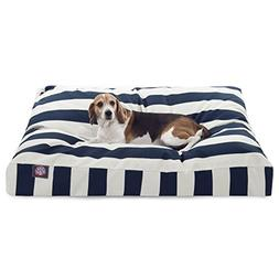 Navy Blue Vertical Stripe Large Rectangle Pet Bed
