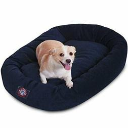 32 inch Navy Villa Collection Micro Velvet Bagel Dog Bed By