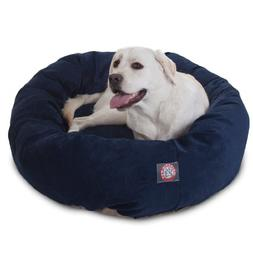 40 inch Navy Villa Collection Micro Velvet Bagel Dog Bed By