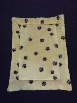 New Dog Bed Crate Mat Tan and Brown Pawprint Faux Fur 18 X 2