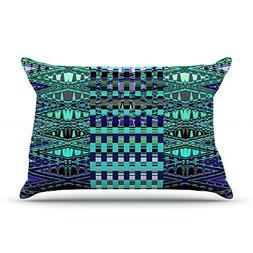 "Kess InHouse Nina May ""New Kilim Seafoam"" Teal Fleece Pillow"