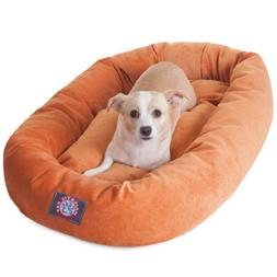 32 inch Orange Villa Collection Micro Velvet Bagel Dog Bed B