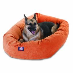 52 inch Orange Villa Collection Micro Velvet Bagel Dog Bed B