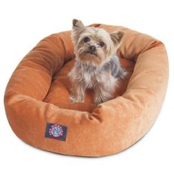 24 inch Orange Villa Collection Micro Velvet Bagel Dog Bed B
