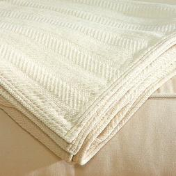 LIFEKIND Certified Organic Chenille Throw Blanket - Ivory
