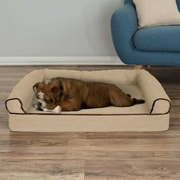 Orthopedic Dog Bed with Comfy Bolster Medium Large Dogs Unde