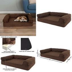 Orthopedic Dog Sofa Bed Memory Foam Pet Bed With Stuffed Bol
