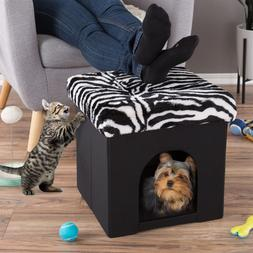 Ottoman Cat Dog Bed Cube Footrest Cushion Top Interior Pillo