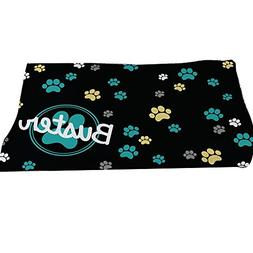 GiftsForYouNow Paw Prints Personalized Throw Blanket, Blue