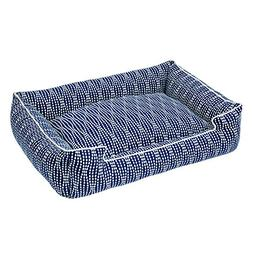 Jax and Bones Pearl Cotton Blend Lounge Dog Bed, Large, Navy