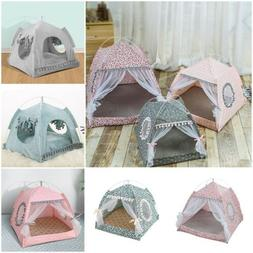 Pet Cat Dog Cave Bed Tent House Kitten Small Teepee Spring B