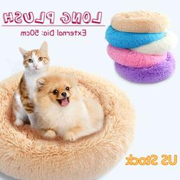 ☆Pet Cat Dog Long Plush Bed Puppy Cave Deep Sleeping Mat N