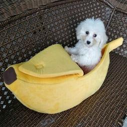 Pet Cat Dog Puppy Warm Nest Bed Banana Shape Fluffy Cave Hou