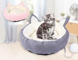 Pet Cat Dog Round Bed Cute Cat Ears Nest Soft Warm Washable