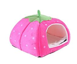 Gracefur Pet Cave Cute Strawberry Shape Dot Pet Nest Soft Re
