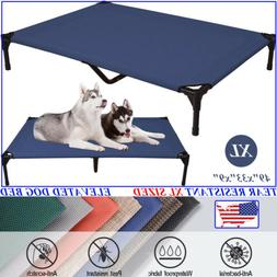 VEEHOO Extra Large BLUE Elevated Dog Beds Pet Cot Raised Coo
