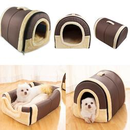 Pet Dog Cat Bed Puppy House & Sofa 2 in 1 Warm Kennel Mat Pa