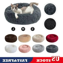 Pet Dog Cat Calming Bed Round Warm Soft Plush Cushion Comfor