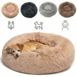 Pet Dog Cat Calming Bed Warm Soft Plush Round Cute Nest Comf