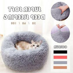 Pet Dog Cat Kennel Calming Bed Round Nest Warm Soft Plush Co
