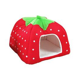 UEETEK Pet Dog Strawberry Shape Dome Tent Bed Puppy Cat Wint