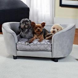 Pet Furniture Sofa Bed Dog Cat Gray Faux Leather Raised Of F