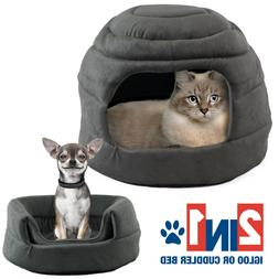 Pet Igloo Cat Dog House Bed Kitten Puppy Cave Hut Enclosed C