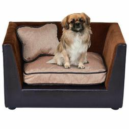 Pet Lounge Sofa Dog Puppy Bed PU Soft Warm Snuggle Couch w/