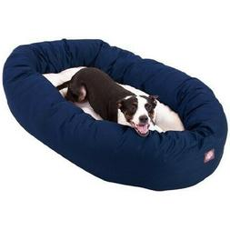 Pet Sherpa Bagel Dog BedPoly Cotton 40in Blue Round Washab