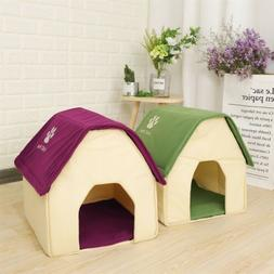 Pet Small Dog Cat House Bed Puppy Cozy Cave Removable Mat Po