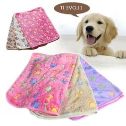 Pet Small Large Paw Print Cat Dog Puppy Soft Blanket Bed Cus
