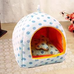 KAKA(TM Pets Cute Warm Bed Dogs Sleeping House Sky Blue Colo