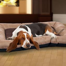 "PETMAKER 43""x29"" Plush Cozy Pet Bed - Tan"