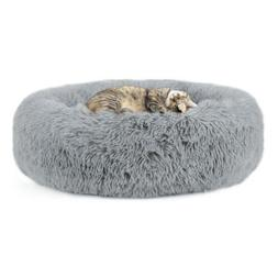 Plush Round Pet Bed for Small Dogs Cats, Faux Dog Beds Washa