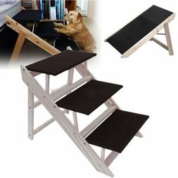Portable 3 Steps Dog Stairs For High Bed Pet Ramp Ladder Sma