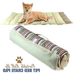 Portable Dog Bed Roll Up Pet Mat Crate Pad - Travel, Camping